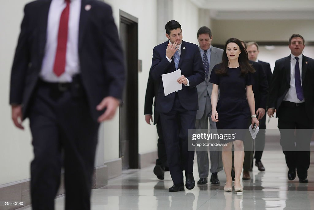 Speaker of the House <a gi-track='captionPersonalityLinkClicked' href=/galleries/search?phrase=Paul+Ryan+-+Politician&family=editorial&specificpeople=7641535 ng-click='$event.stopPropagation()'>Paul Ryan</a> (R-WI) (L) arrives for his weekly news conference in the U.S. Capitol Visitors Center May 26, 2016 in Washington, DC. Ryan has yet to endorse Republican presidential candidate Donald Trump, who has now secured the number of delegates needed to officially become the Republican nominee for president.