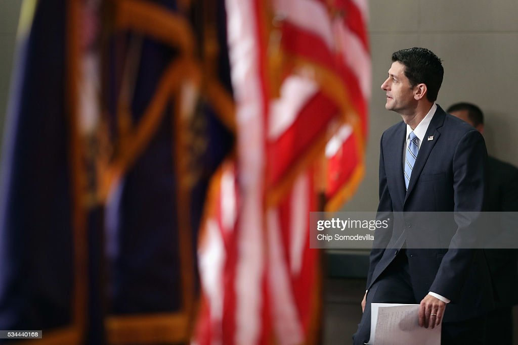 Speaker of the House Paul Ryan (R-WI) arrives for his weekly news conference in the U.S. Capitol Visitors Center May 26, 2016 in Washington, DC. Ryan has yet to endorse Republican presidential candidate Donald Trump, who has now secured the number of delegates needed to officially become the Republican nominee for president.