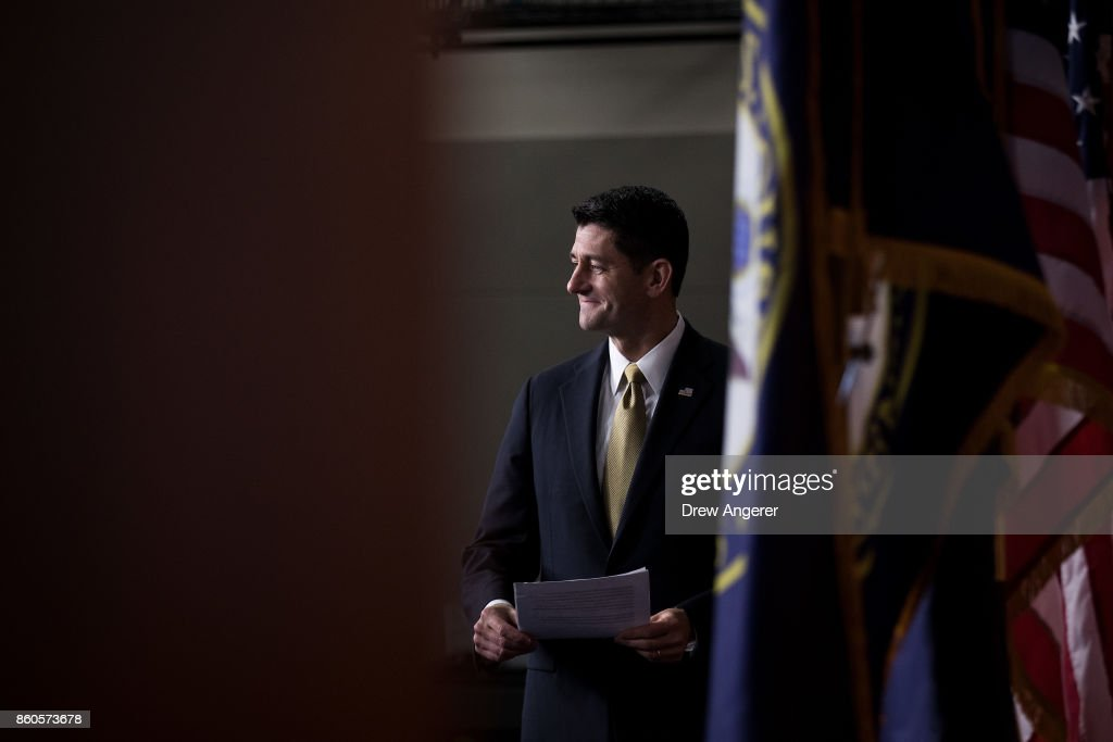 Speaker of the House Paul Ryan (R-WI) arrives for his weekly news conference on Capitol Hill, October 12, 2017 in Washington, DC. On Friday, Speaker Ryan will lead a bipartisan Congressional delegation on a trip to Puerto Rico to meet with local officials and emergency responders following the devastation from Hurricane Maria.