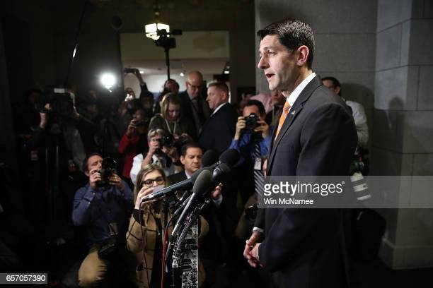 S Speaker of the House Paul Ryan delivers brief remarks following a meeting of the House Republican caucus that White House chief strategist Steve...