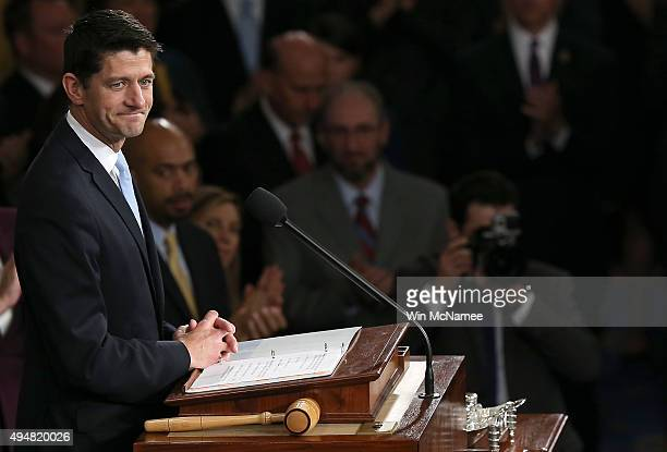 Speaker of the House Paul Ryan delivers remarks after being elected as the to the leadership position October 29 2015 in Washington DC The House...