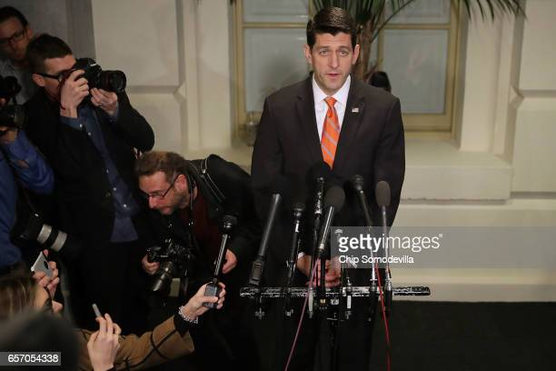 Speaker of the House Paul Ryan delivers very brief remarks and takes no questions following a meeting of the House Republican caucus meeting at the...