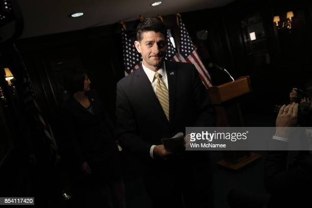 S Speaker of the House Paul Ryan departs after answering questions during a press conference on Capitol Hill September 26 2017 in Washington DC Ryan...