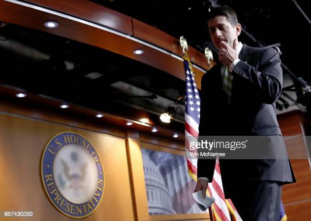 S Speaker of the House Paul Ryan departs after delivering remarks and taking questions at a press conference at the US Capitol after President...