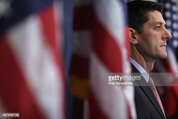 Speaker of the House Paul Ryan holds a news briefing following the weekly Republican Conference meeting at the US Capitol November 16 2015 in...