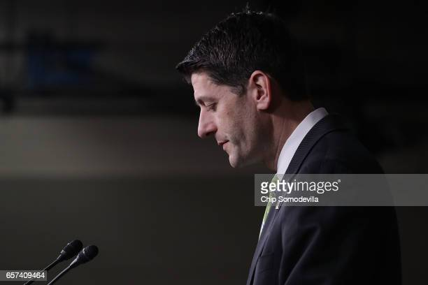 Speaker of the House Paul Ryan holds a news conference in the House Visitors Center following a Republican caucus meeting in the US Capitol March 24...