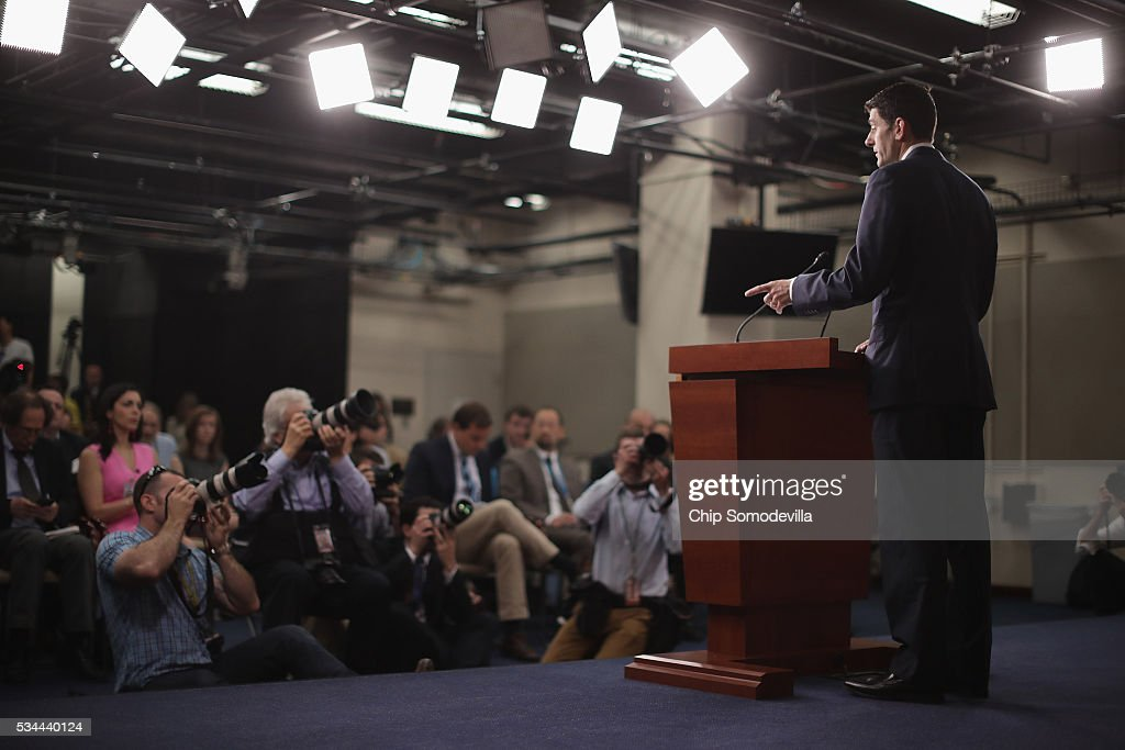 Speaker of the House <a gi-track='captionPersonalityLinkClicked' href=/galleries/search?phrase=Paul+Ryan+-+Politiker&family=editorial&specificpeople=7641535 ng-click='$event.stopPropagation()'>Paul Ryan</a> (R-WI) holds his weekly news conference in the U.S. Capitol Visitors Center May 26, 2016 in Washington, DC. Ryan has yet to endorse Republican presidential candidate Donald Trump, who has now secured the number of delegates needed to officially become the Republican nominee for president.