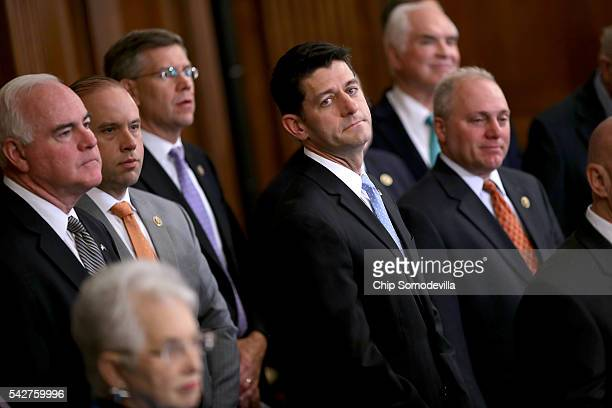 Speaker of the House Paul Ryan joins fellow Republicans for a news conference to introduce their tax reform proposal in the Rayburn Room at the US...
