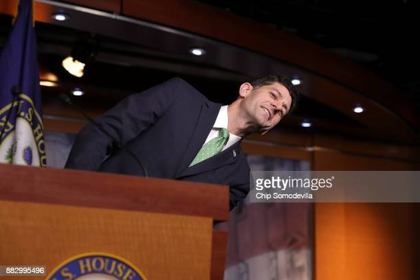 Speaker of the House Paul Ryan leans away from the lecturn to get a better look at a reporter during his weekly news conference in the US Capitol...