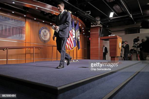 Speaker of the House Paul Ryan leaves following his weekly news conference in the US Capitol Visitors Center November 30 2017 in Washington DC Ryan...