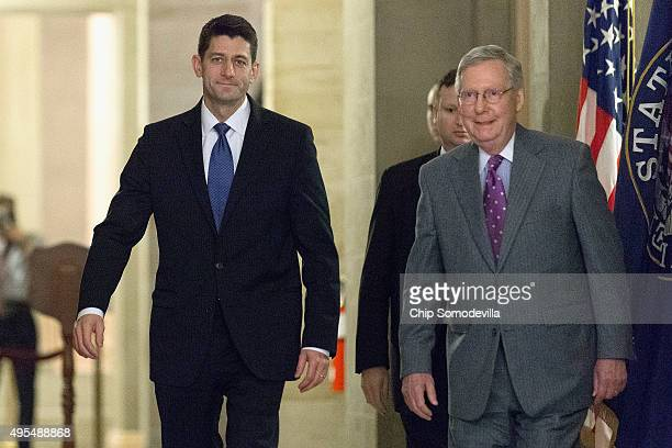 Speaker of the House Paul Ryan RWI and Senate Majority Leader Mitch McConnell walk together to a Senate GOP policy luncheon in the US Capitol...