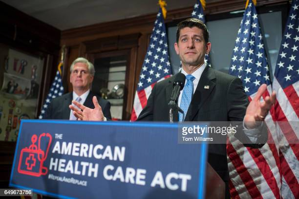Speaker of the House Paul Ryan RWis and House Majority Leader Kevin McCarthy RCalif conduct a news conference at the RNC where they discussed the...