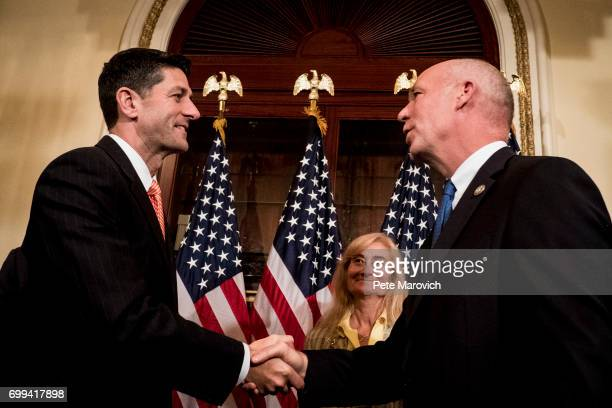 Speaker of the House Paul Ryan RWis greets controversial Montana Republican Greg Gianforte before a ceremonial swearing ceremony on June 21 2017 in...