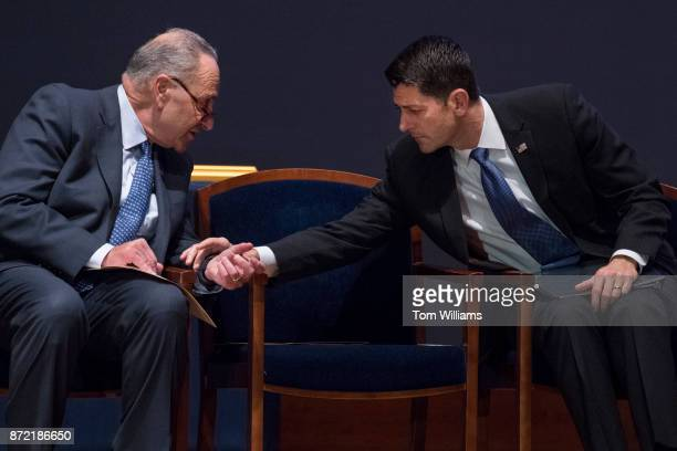 Speaker of the House Paul Ryan RWis right and Senate Minority Leader Charles Schumer DNY talk during a US Capitol Police Medal of Honor ceremony in...
