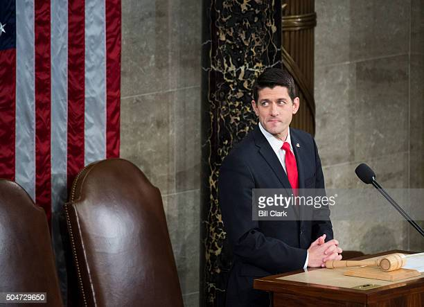 Speaker of the House Paul Ryan RWis waits for President Barack Obama to arrive to deliver his final State of the Union address to a Joint Session of...