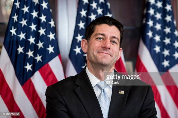 Speaker of the House Paul Ryan RWisc awaits the next newlyelected member for their mock swearingin ceremony photoop in the US Capitol on Monday Nov...