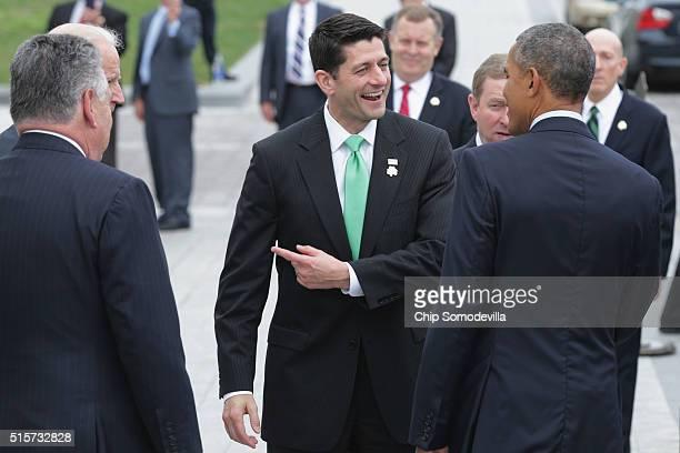 Speaker of the House Paul Ryan says goodbye to Rep Peter King Vice President Joe Biden US President Barack Obama and Irish Prime Minister or...