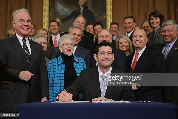 Speaker of the House Paul Ryan signs legislation to repeal the Affordable Care Act also known as Obamacare and to cut off federal funding of Planned...