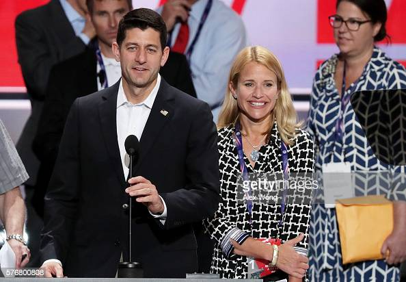 S Speaker of the House Paul Ryan speaks during a microphone test along with his wife Janna Ryan prior to the start of the Republican National...