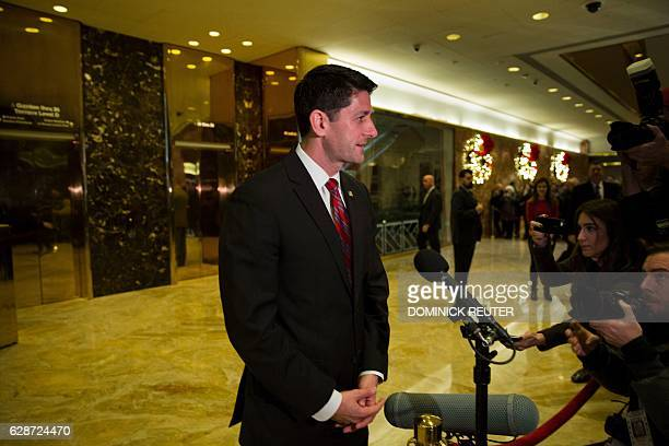 US Speaker of the House Paul Ryan speaks to the media after a meeting with Presidentelect Donald Trump on December 9 2016 at Trump Tower in New York...