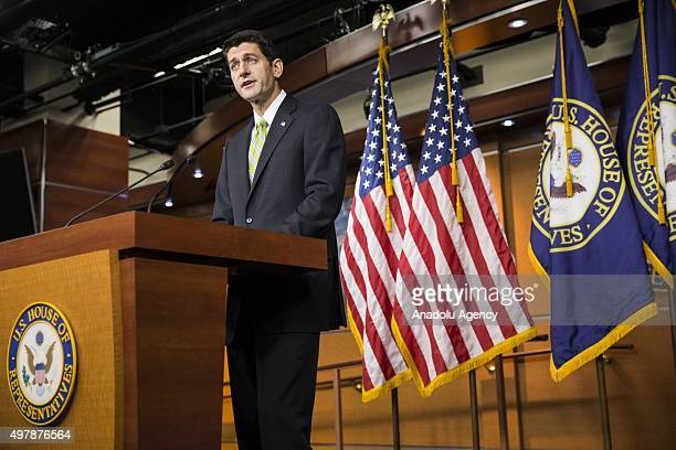 Speaker of the House Paul Ryan speaks to the press about legislation being introduced in the House of Representatives to modify the 1980 Refugee Act...