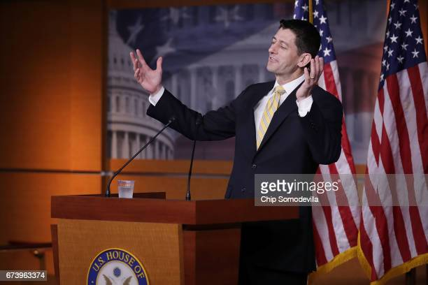 Speaker of the House Paul Ryan talks to reporters during his weekly news conference at the US Capitol Visitors Center April 27 2017 in Washington DC...