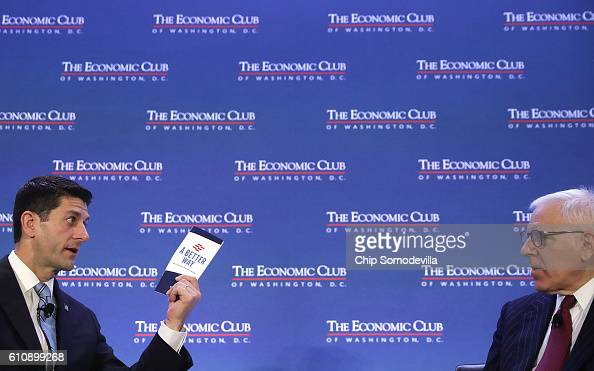 Speaker of the House Paul Ryan touts his party's 'A Better Way' policy agenda during an interview with The Carlyle Group coCEO and Economic Club of...