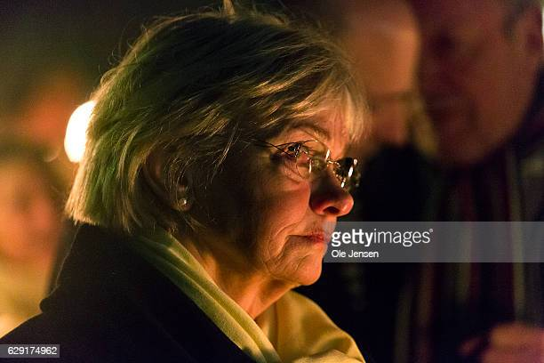 Speaker of The House Pia Kjaersgaard attends a torchlight procession in remembrance of murdered police officer December 11 2016 in Albertslund...