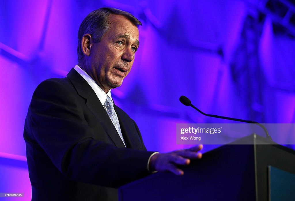 U.S. Speaker of the House Rep. <a gi-track='captionPersonalityLinkClicked' href=/galleries/search?phrase=John+Boehner&family=editorial&specificpeople=274752 ng-click='$event.stopPropagation()'>John Boehner</a> (R-OH) addresses the National Association of Manufacturers (NAM) 2013 Manufacturing Summit June 20, 2013 in Washington, DC. Speaker Boehner spoke on Republican efforts to grow the economy and create jobs in the manufacturing sector.