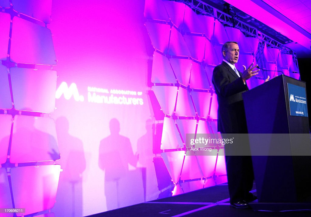 U.S. Speaker of the House Rep. John Boehner (R-OH) addresses the National Association of Manufacturers (NAM) 2013 Manufacturing Summit June 20, 2013 in Washington, DC. Speaker Boehner spoke on Republican efforts to grow the economy and create jobs in the manufacturing sector.