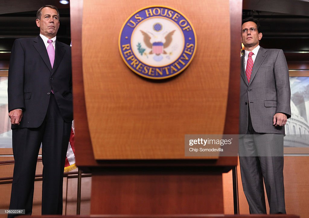 S Speaker of the House Rep John Boehner and House Majority Leader Rep Eric Cantor hold a news conference about the budget continuing resolution...