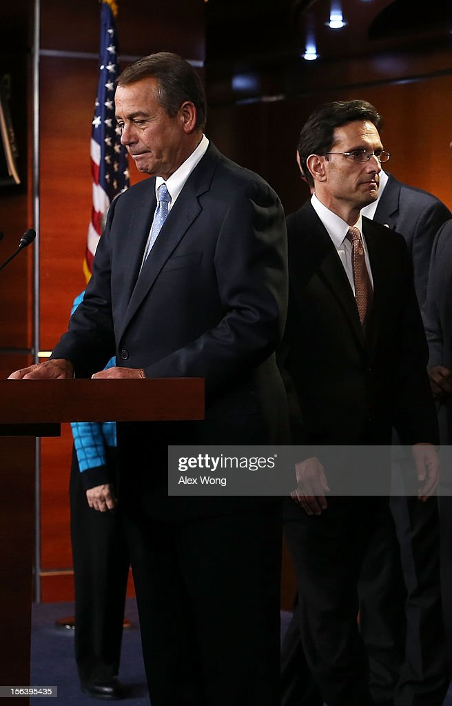 U.S. Speaker of the House Rep. John Boehner (R-OH) (L) and House Majority Leader Rep. <a gi-track='captionPersonalityLinkClicked' href=/galleries/search?phrase=Eric+Cantor&family=editorial&specificpeople=653711 ng-click='$event.stopPropagation()'>Eric Cantor</a> (R-VA) (R) arrive at a news conference to introduce the new House Republican leadership for the next Congress November 14, 2012 on Capitol Hill in Washington, DC. The House Republicans have picked their choices of leadership for the 113th Congress.