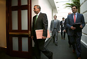 S Speaker of the House Rep John Boehner arrives at a House Republican Conference meeting October 21 2015 at the Capitol in Washington DC Rep Paul...