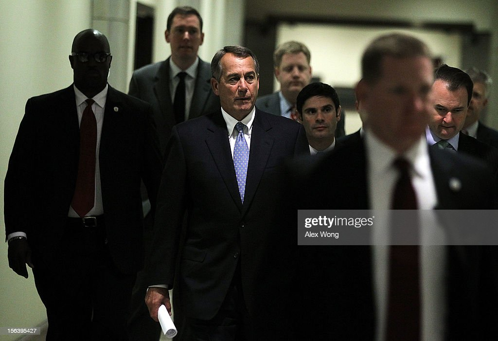 U.S. Speaker of the House Rep. <a gi-track='captionPersonalityLinkClicked' href=/galleries/search?phrase=John+Boehner&family=editorial&specificpeople=274752 ng-click='$event.stopPropagation()'>John Boehner</a> (R-OH) arrives at a news conference to introduce the new House Republican leadership for the next Congress November 14, 2012 on Capitol Hill in Washington, DC. The House Republicans have picked their choices of leadership for the 113th Congress.