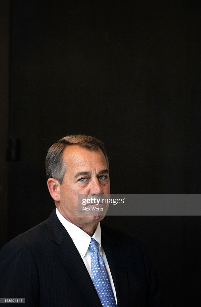 U.S. Speaker of the House Rep. <a gi-track='captionPersonalityLinkClicked' href=/galleries/search?phrase=John+Boehner&family=editorial&specificpeople=274752 ng-click='$event.stopPropagation()'>John Boehner</a> (R-OH) arrives at his weekly news conference December 20, 2012 on Capitol Hill in Washington, DC. Speaker Boehner spoke on the latest development of the fiscal cliff issue and the 'Plan B' that the House will vote on this evening.