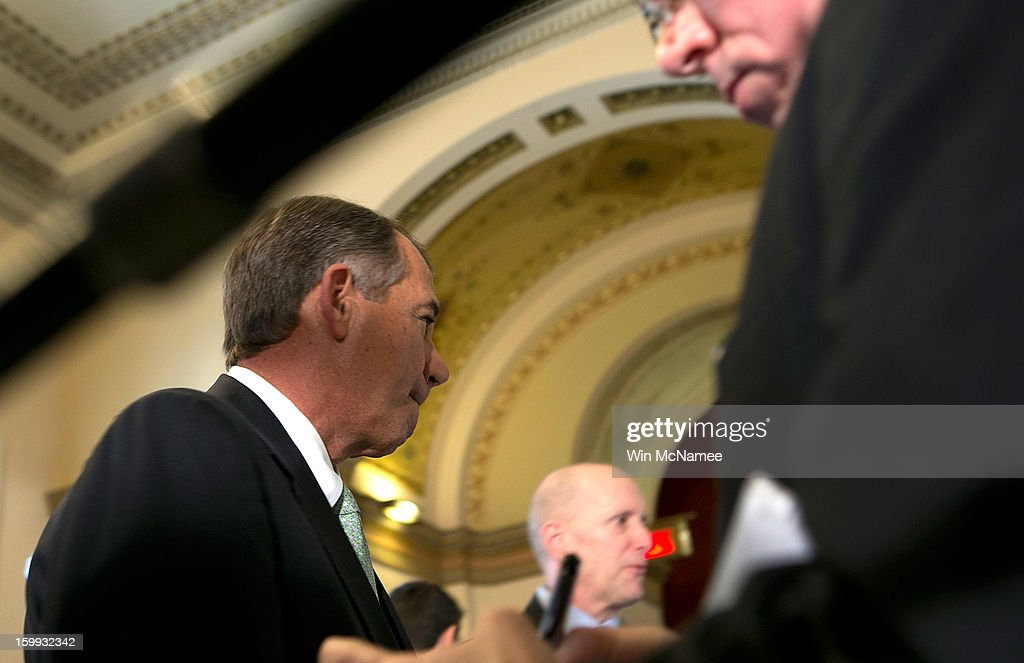 Speaker of the House Rep. <a gi-track='captionPersonalityLinkClicked' href=/galleries/search?phrase=John+Boehner&family=editorial&specificpeople=274752 ng-click='$event.stopPropagation()'>John Boehner</a> (R-OH) departs after speaking about the three-month extension of the nation's debt limit passed by the House of Representatives at the U.S. Capitol January 23, 2012 in Washington, DC. The legislation that passed the House would also require members of both chambers of Congress to pass a budget resolution or risk having their pay withheld.