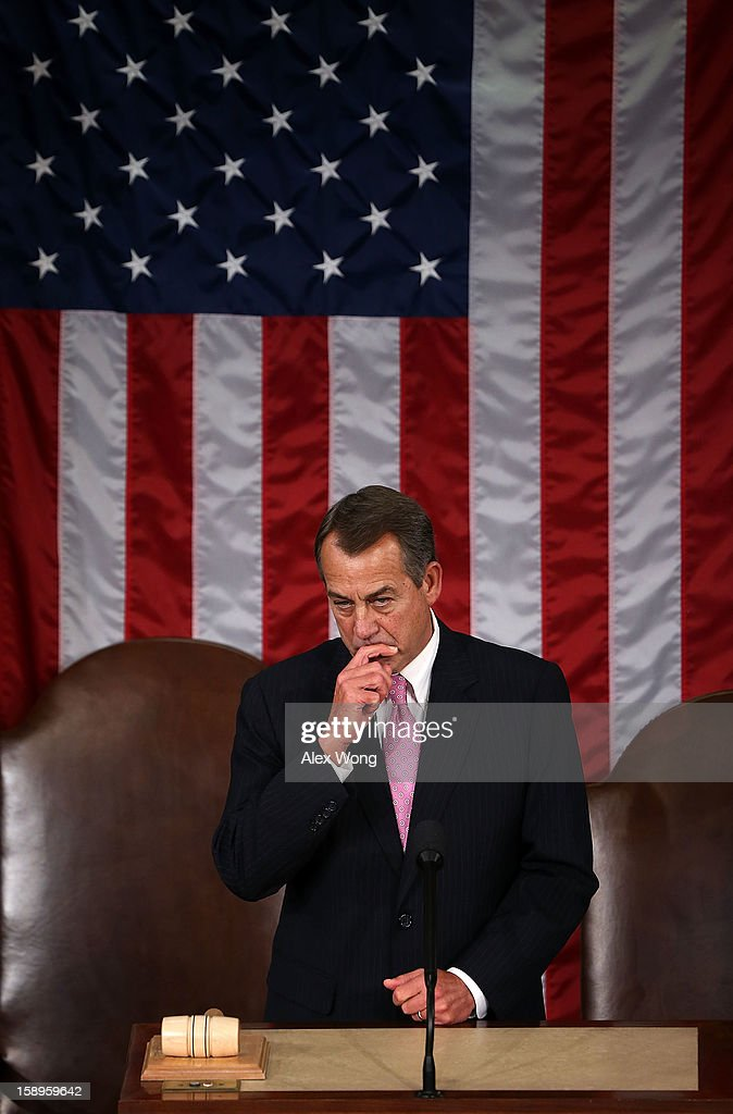 U.S. Speaker of the House Rep. <a gi-track='captionPersonalityLinkClicked' href=/galleries/search?phrase=John+Boehner&family=editorial&specificpeople=274752 ng-click='$event.stopPropagation()'>John Boehner</a> (R-OH) during a joint session of the 113th Congress to count the Electoral College votes January 4, 2013 on Capitol Hill in Washington, DC. The Senate and the House held a joint session to count the Electoral College votes for the 2012 presidential election.