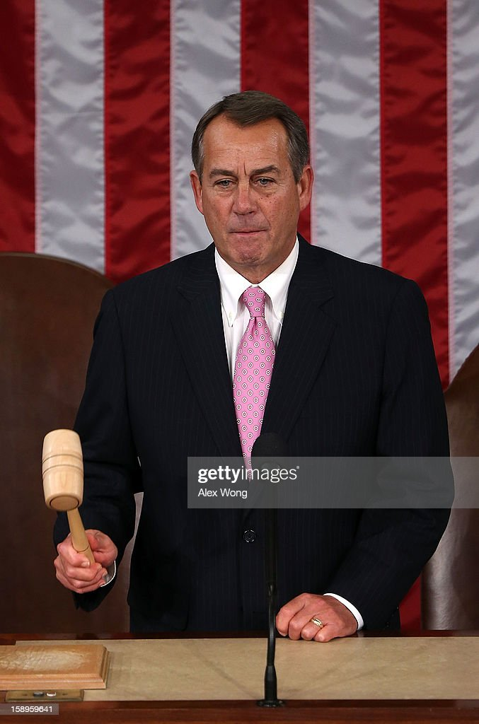 U.S. Speaker of the House Rep. <a gi-track='captionPersonalityLinkClicked' href=/galleries/search?phrase=John+Boehner&family=editorial&specificpeople=274752 ng-click='$event.stopPropagation()'>John Boehner</a> (R-OH) hits the gavel during a joint session of the 113th Congress to count the Electoral College votes January 4, 2013 on Capitol Hill in Washington, DC. The Senate and the House held a joint session to count the Electoral College votes for the 2012 presidential election.