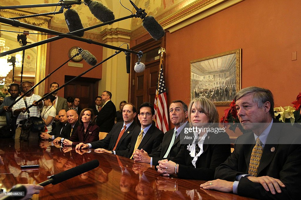S Speaker of the House Rep John Boehner House Majority Leader Rep Eric Cantor and Republican negotiators for a conference committee of payroll tax...