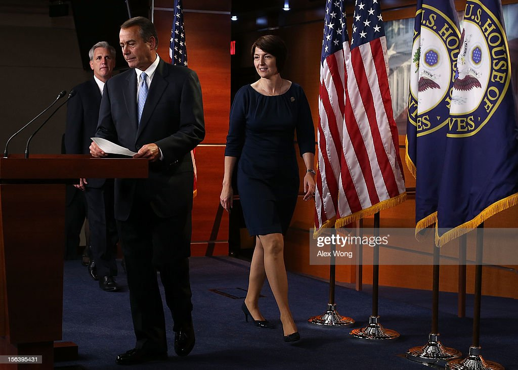 U.S. Speaker of the House Rep. <a gi-track='captionPersonalityLinkClicked' href=/galleries/search?phrase=John+Boehner&family=editorial&specificpeople=274752 ng-click='$event.stopPropagation()'>John Boehner</a> (R-OH) (2nd L), House Majority Whip Rep. Kevin McCarthy (R-CA) (L) and Rep. Cathy McMorris Rodgers (R-WA) (R) arrive at a news conference to introduce the new House Republican leadership for the next Congress November 14, 2012 on Capitol Hill in Washington, DC. The House Republicans have picked their choices of leadership for the 113th Congress.