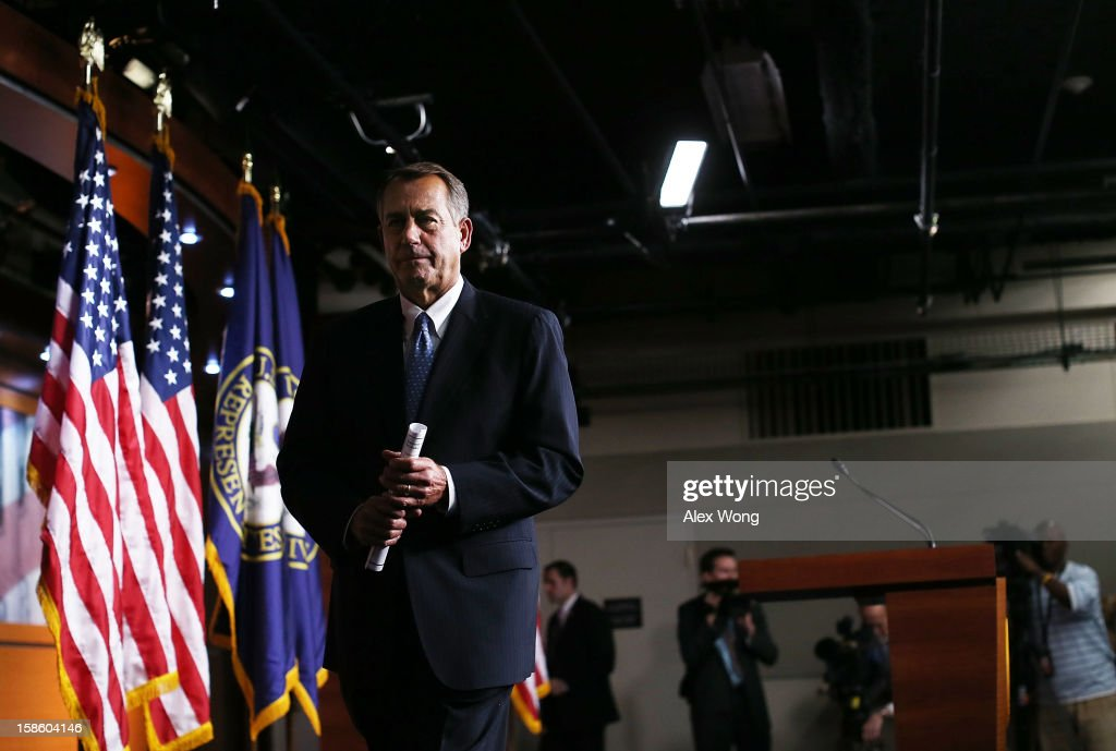 U.S. Speaker of the House Rep. <a gi-track='captionPersonalityLinkClicked' href=/galleries/search?phrase=John+Boehner&family=editorial&specificpeople=274752 ng-click='$event.stopPropagation()'>John Boehner</a> (R-OH) leaves after his weekly news conference December 20, 2012 on Capitol Hill in Washington, DC. Speaker Boehner spoke on the latest development of the fiscal cliff issue and the 'Plan B' that the House will vote on this evening.
