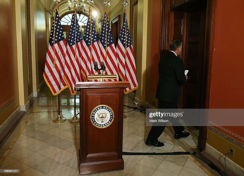 U.S. Speaker of the House Rep. <a gi-track='captionPersonalityLinkClicked' href=/galleries/search?phrase=John+Boehner&family=editorial&specificpeople=274752 ng-click='$event.stopPropagation()'>John Boehner</a> (R-OH) leaves after making a statement to the media at the U.S. Capitol on December 19, 2012 in Washington, DC. Speaker Boehner spoke about the ongoing talks with the White House on the so-called 'fiscal cliff.'