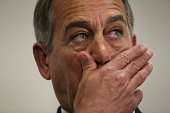 S Speaker of the House Rep John Boehner listens during a news briefing after a House Republican Caucus meeting October 27 2015 at the Capitol in...