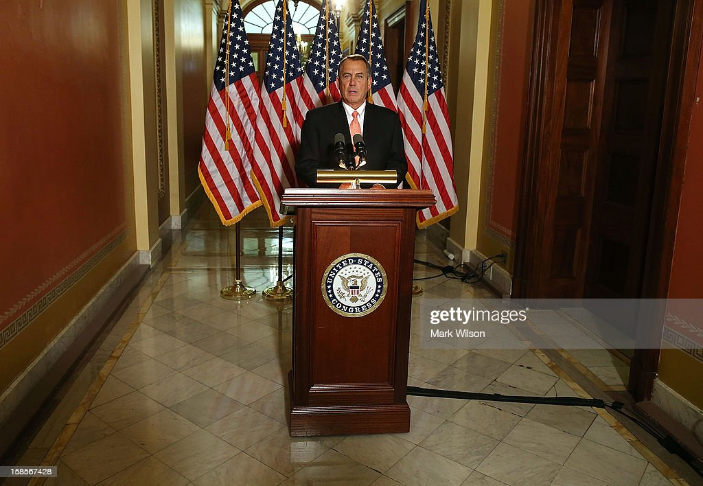 U.S. Speaker of the House Rep. <a gi-track='captionPersonalityLinkClicked' href=/galleries/search?phrase=John+Boehner&family=editorial&specificpeople=274752 ng-click='$event.stopPropagation()'>John Boehner</a> (R-OH) makes a statement to the media at the U.S. Capitol on December 19, 2012 in Washington, DC. Speaker Boehner spoke about the ongoing talks with the White House on the so-called 'fiscal cliff.'