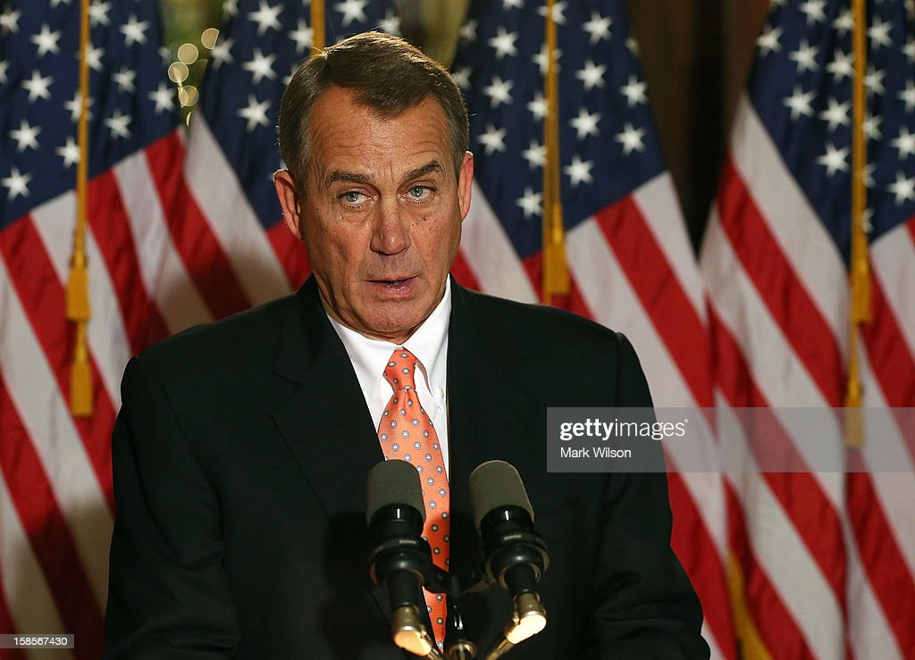 U.S. Speaker of the House Rep. John Boehner (R-OH) makes a statement to the media at the U.S. Capitol on December 19, 2012 in Washington, DC. Speaker Boehner spoke about the ongoing talks with the White House on the so-called 'fiscal cliff.'