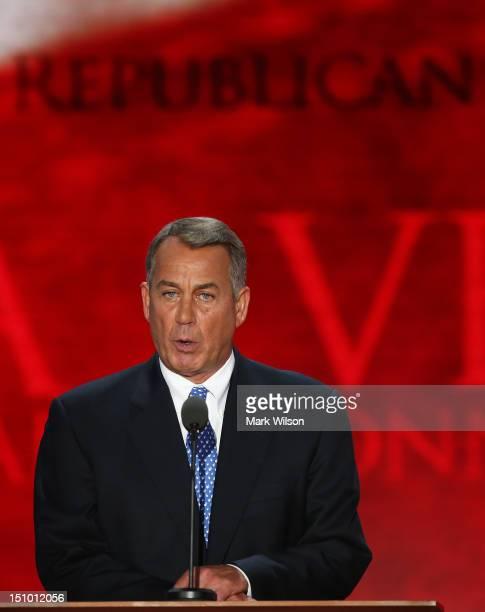 S Speaker of the House Rep John Boehner offically declares former Massachusetts Gov Mitt Romney as the Republican presidential candidate during the...