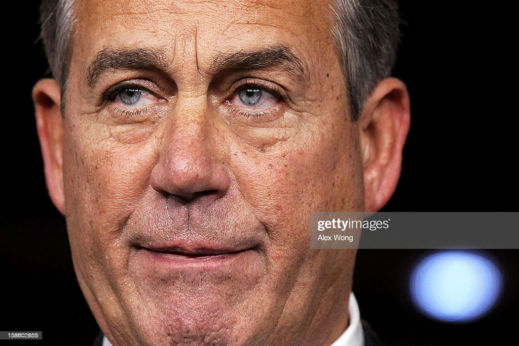 U.S. Speaker of the House Rep. <a gi-track='captionPersonalityLinkClicked' href=/galleries/search?phrase=John+Boehner&family=editorial&specificpeople=274752 ng-click='$event.stopPropagation()'>John Boehner</a> (R-OH) pauses during his weekly news conference December 20, 2012 on Capitol Hill in Washington, DC. Speaker Boehner spoke on the latest development of the fiscal cliff issue and the 'Plan B' that the House will vote on this evening.