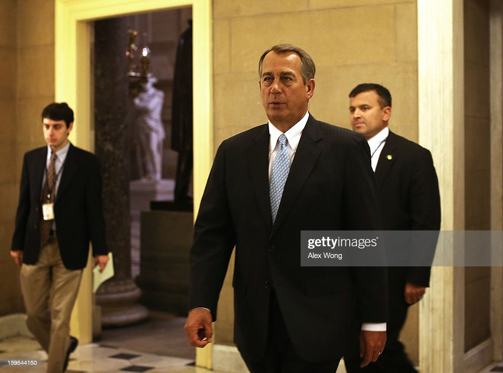 U.S. Speaker of the House Rep. John Boehner (R-OH) returns to his office after a vote at the House floor January 15, 2013 on Capitol Hill in Washington, DC. The House is scheduled to vote on the $50.7 billion Disaster Relief Appropriations for victims of superstorm Sandy later today.