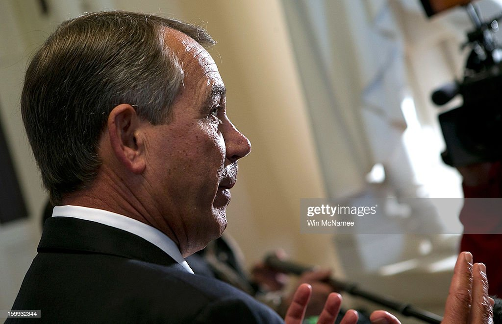 Speaker of the House Rep. <a gi-track='captionPersonalityLinkClicked' href=/galleries/search?phrase=John+Boehner&family=editorial&specificpeople=274752 ng-click='$event.stopPropagation()'>John Boehner</a> (R-OH) speaks about the three-month extension of the nation's debt limit passed by the House of Representatives at the U.S. Capitol January 23, 2012 in Washington, DC. The legislation that passed the House would also require members of both chambers of Congress to pass a budget resolution or risk having their pay withheld.