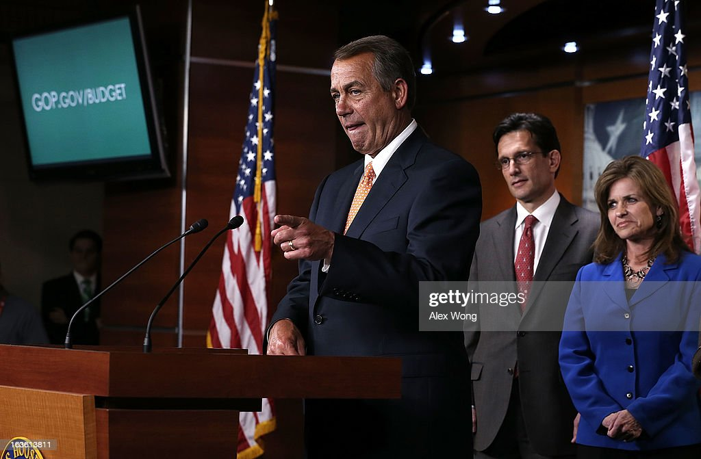 U.S. Speaker of the House Rep. <a gi-track='captionPersonalityLinkClicked' href=/galleries/search?phrase=John+Boehner&family=editorial&specificpeople=274752 ng-click='$event.stopPropagation()'>John Boehner</a> (R-OH) (L) speaks as House Majority Leader Rep. <a gi-track='captionPersonalityLinkClicked' href=/galleries/search?phrase=Eric+Cantor&family=editorial&specificpeople=653711 ng-click='$event.stopPropagation()'>Eric Cantor</a> (R-VA) (2nd L) and Rep. Lynn Jenkins (R-KS) (R) look on during a news conference after a meeting between President Barack Obama and the House Republican Conference at the U.S. Capitol March 13, 2013 on Capitol Hill in Washington, DC. President traveled to the Hill to meet with Republican House members in a closed meeting.